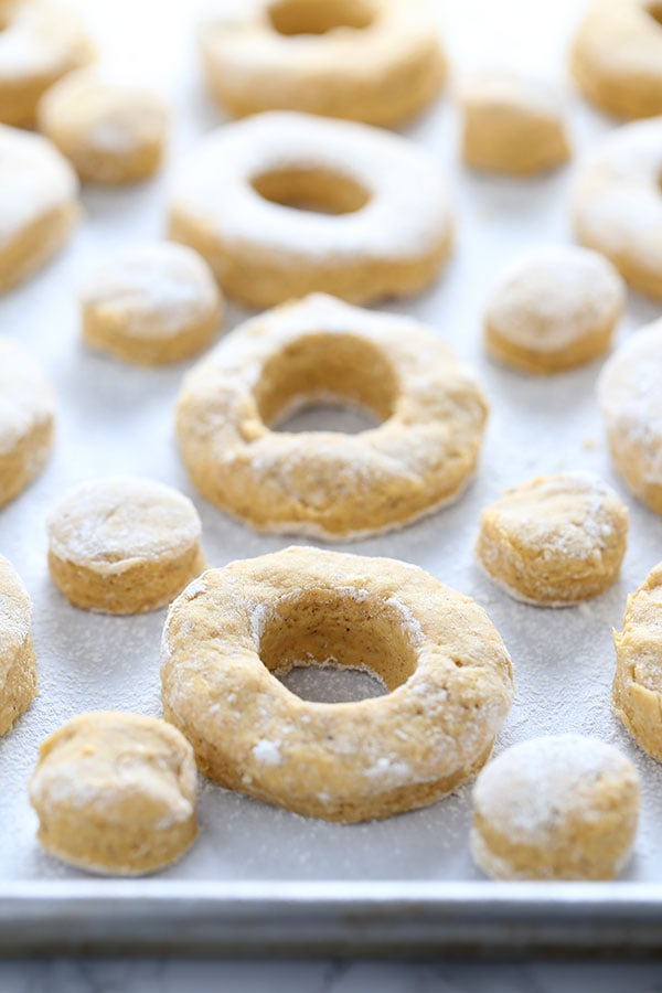 Making Pumpkin Old Fashioned Doughnuts - no yeast makes this recipe easy!