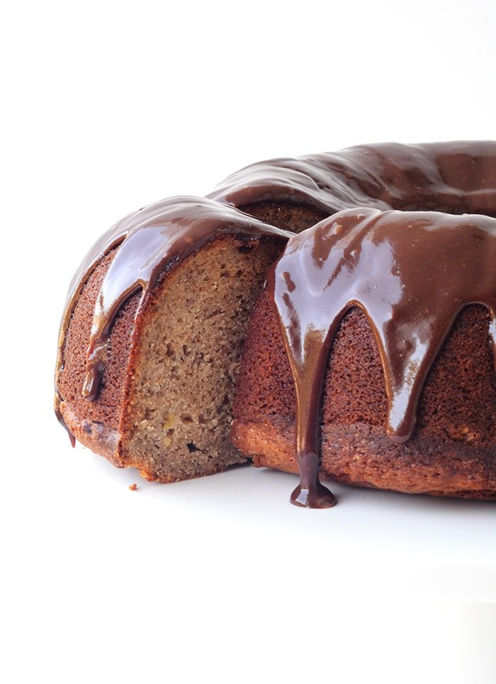 Banana Bundt Cake With Nutella Ganache - Handle the Heat