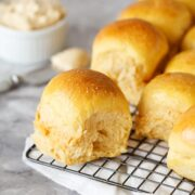 Sweet Potato Dinner Rolls are ridiculously soft and fluffy with a slightly crisp and chewy crust and a hint of sweet potato goodness.