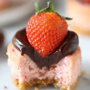 Perfect Valentine's Day recipe!! I brought these into work and everyone LOVED them! Chocolate Strawberry Mini Cheesecakes mm mmm