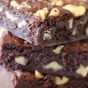 Walnut Fudge Brownies are ultra rich, moist, chewy, chocolaty and loaded with crunchy walnuts throughout. Takes less than 1 hour from start to finish!