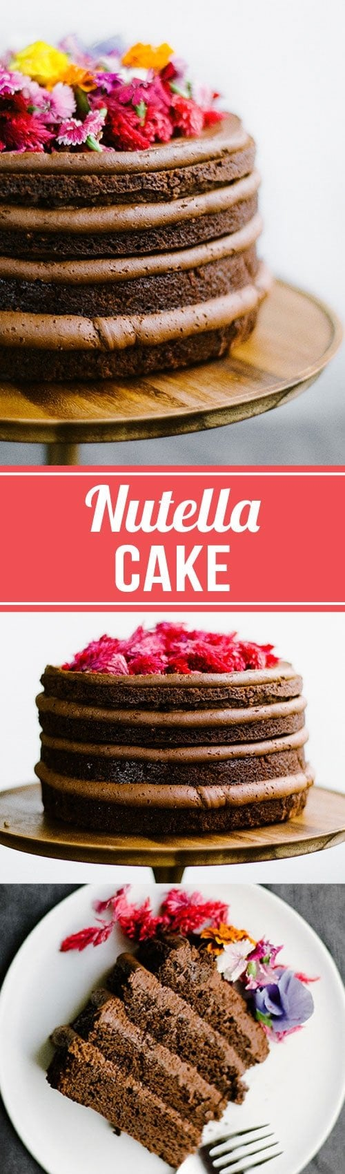 This decadent Nutella Cake features four layers of moist and tender Nutella chocolate cake with a generous helping of luscious Nutella buttercream. Decorated with edible flowers, this cake is perfect for Valentine's Day, Easter, birthdays, or any other special occasion!