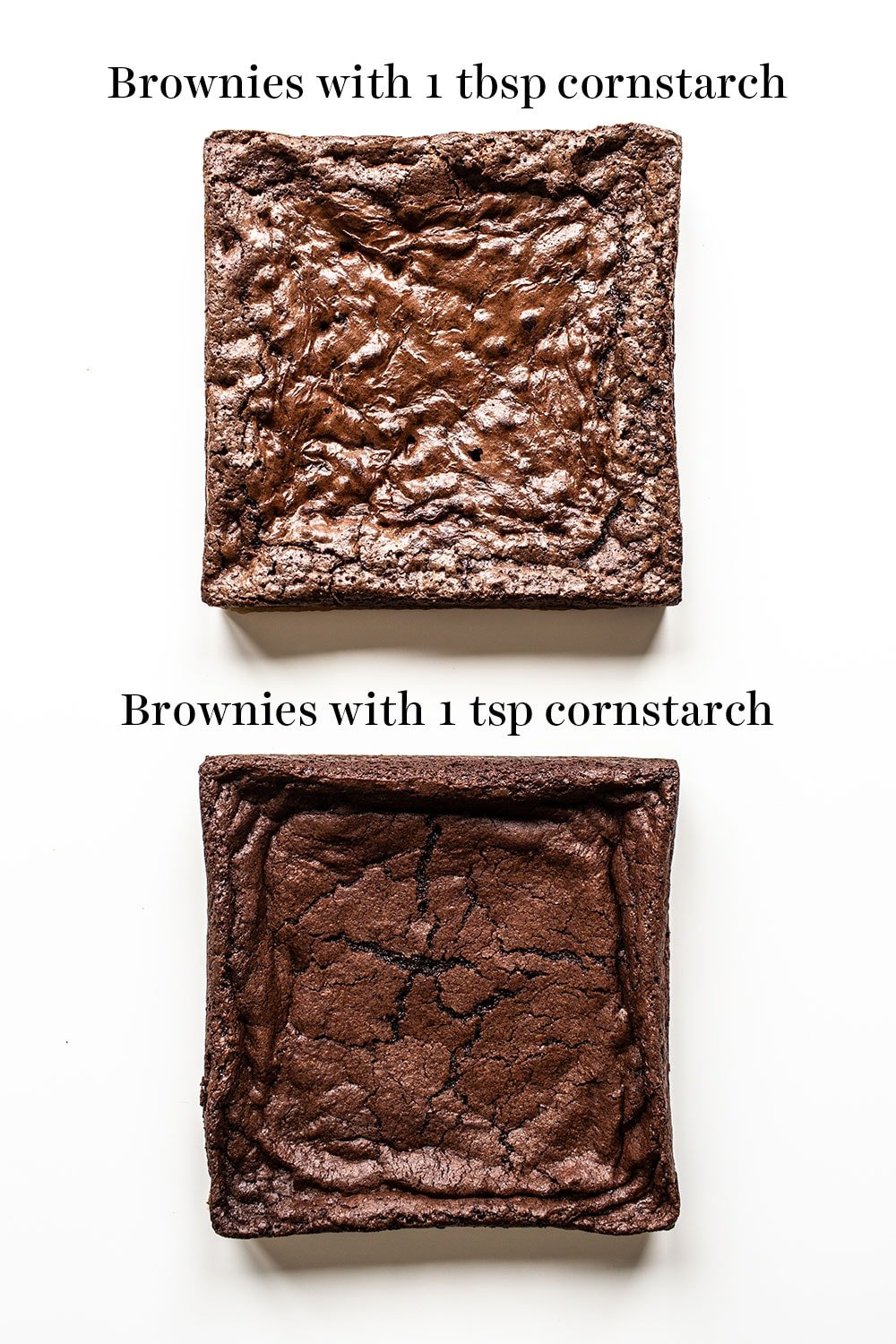 overhead comparison of brownies made with 1 tablespoon of cornstarch vs 1 teaspoon of cornstarch