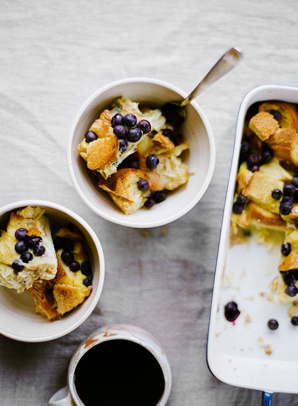 Lemon Blueberry French Toast Casserole can be made overnight and tastes like a combination of bread pudding and gourmet French toast. It