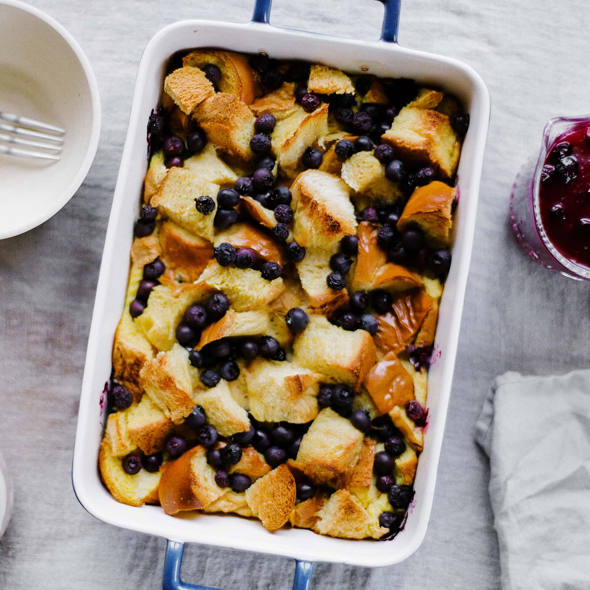 Lemon Blueberry French Toast Casserole can be made overnight and tastes like a combination of bread pudding and gourmet French toast. It's perfect for Mother's Day!