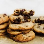 Coconut Oil Chocolate Chip Cookies are dairy-free with just a hint of coconut flavor but all of the taste and texture you love in a chocolate chip cookie. Our new go-to recipe!