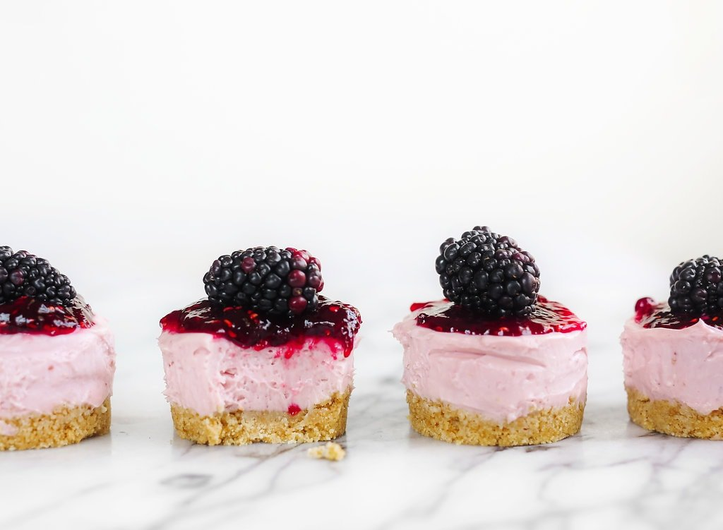 Adorable No Bake Mini Blackberry Cheesecakes are ultra fresh, vibrant, and simple to make with no oven or stove required! Perfect for spring or summer.