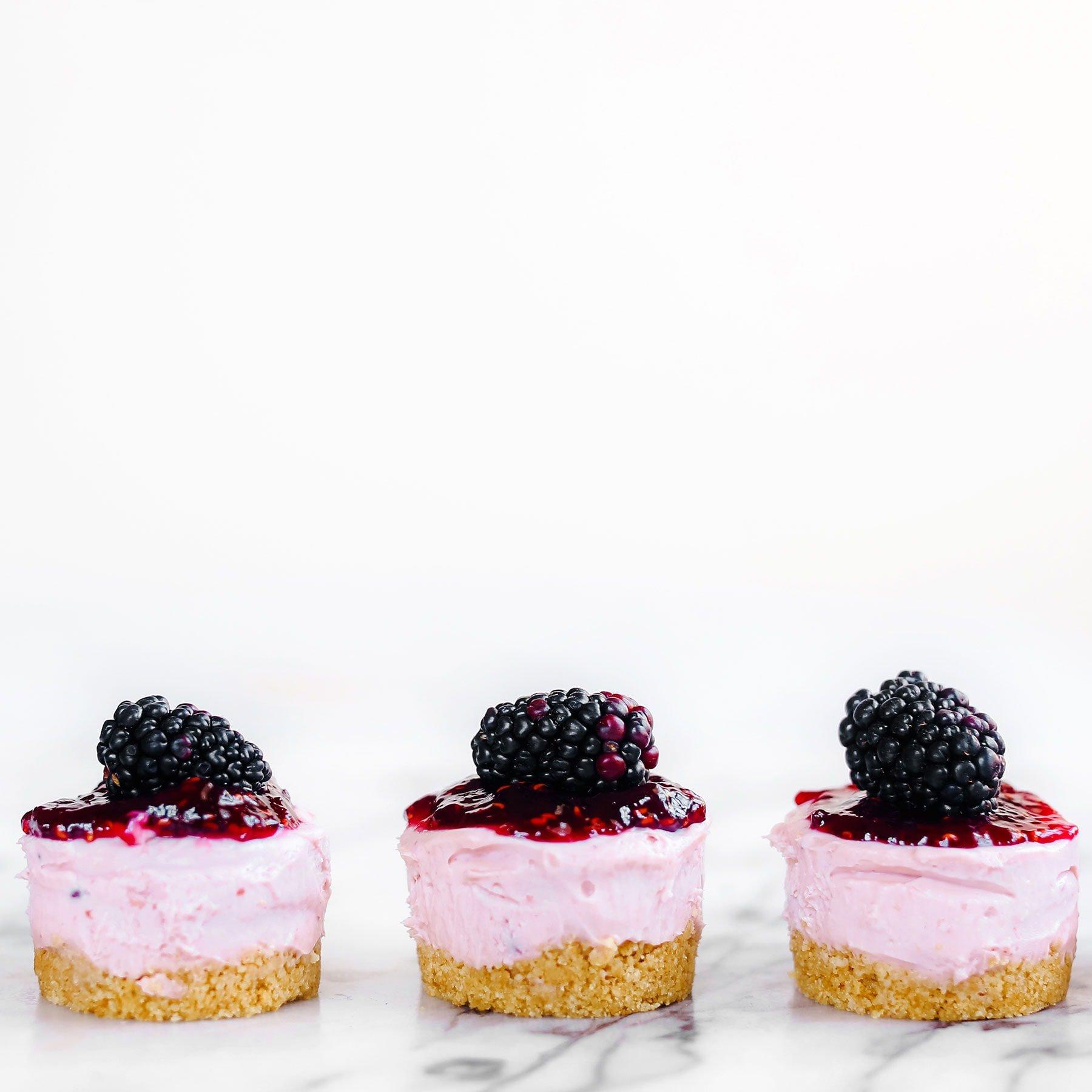 No Bake Mini Blackberry Cheesecakes Recipe