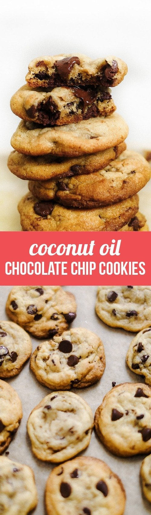 Coconut Oil Chocolate Chip Cookies are dairy-free with just a hint of coconut flavor but all of the taste and texture you love in a chocolate chip cookie.