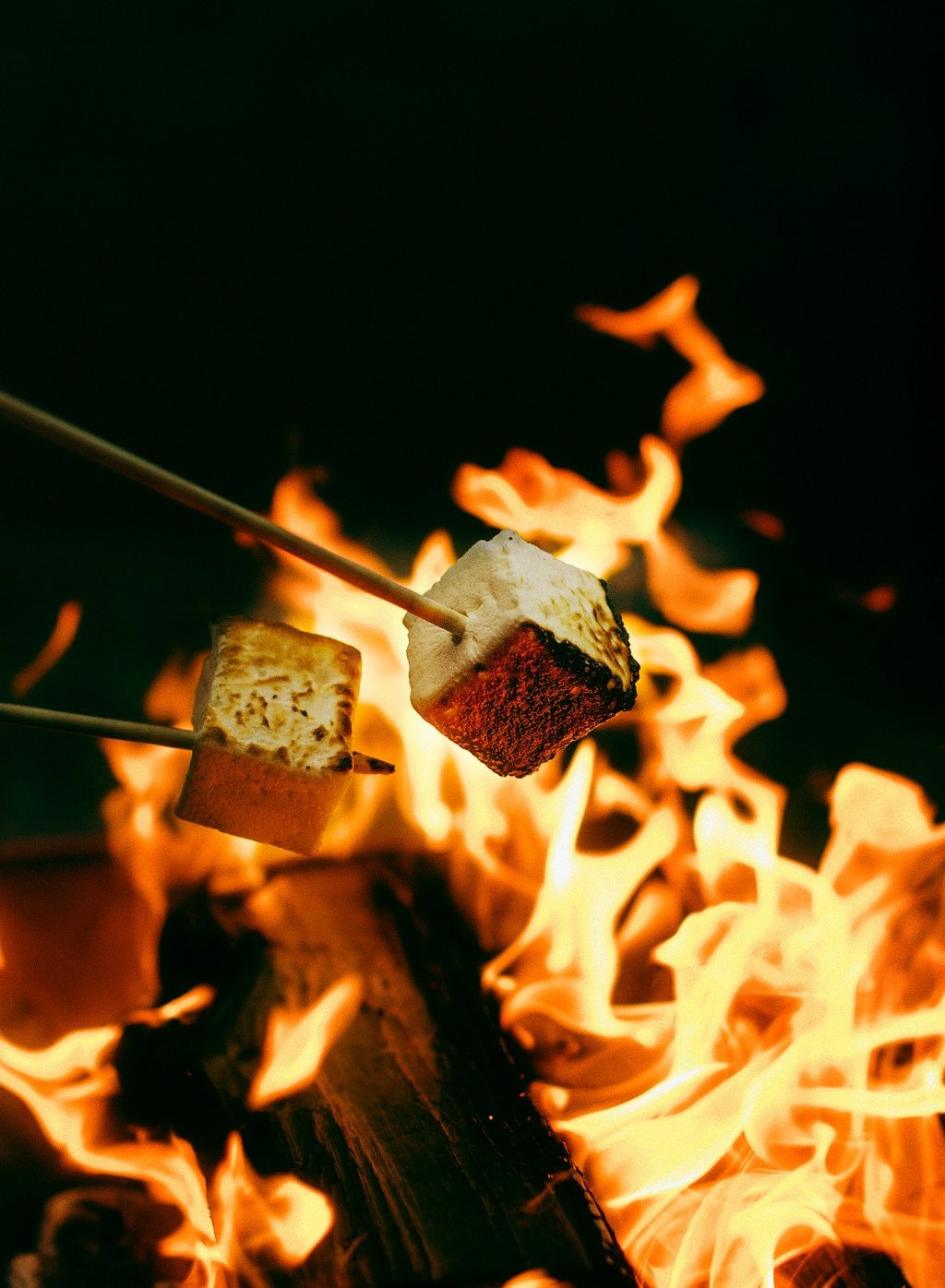 Campfire s'mores during summer