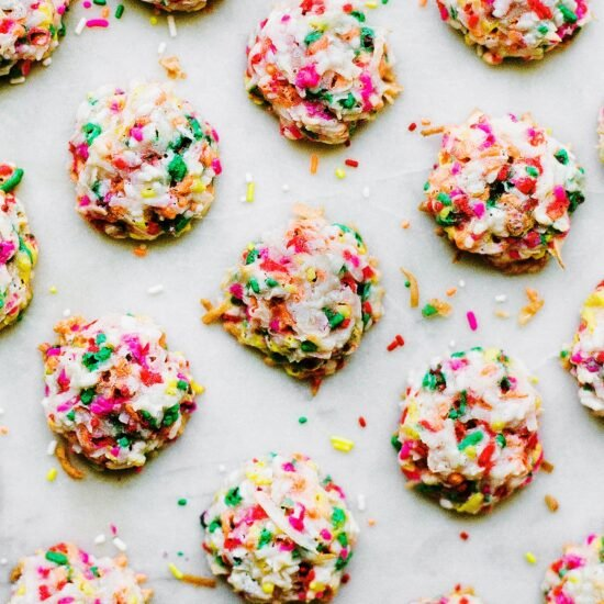 Funfetti Coconut Macaroon Recipe made with tons of rainbow sprinkles!
