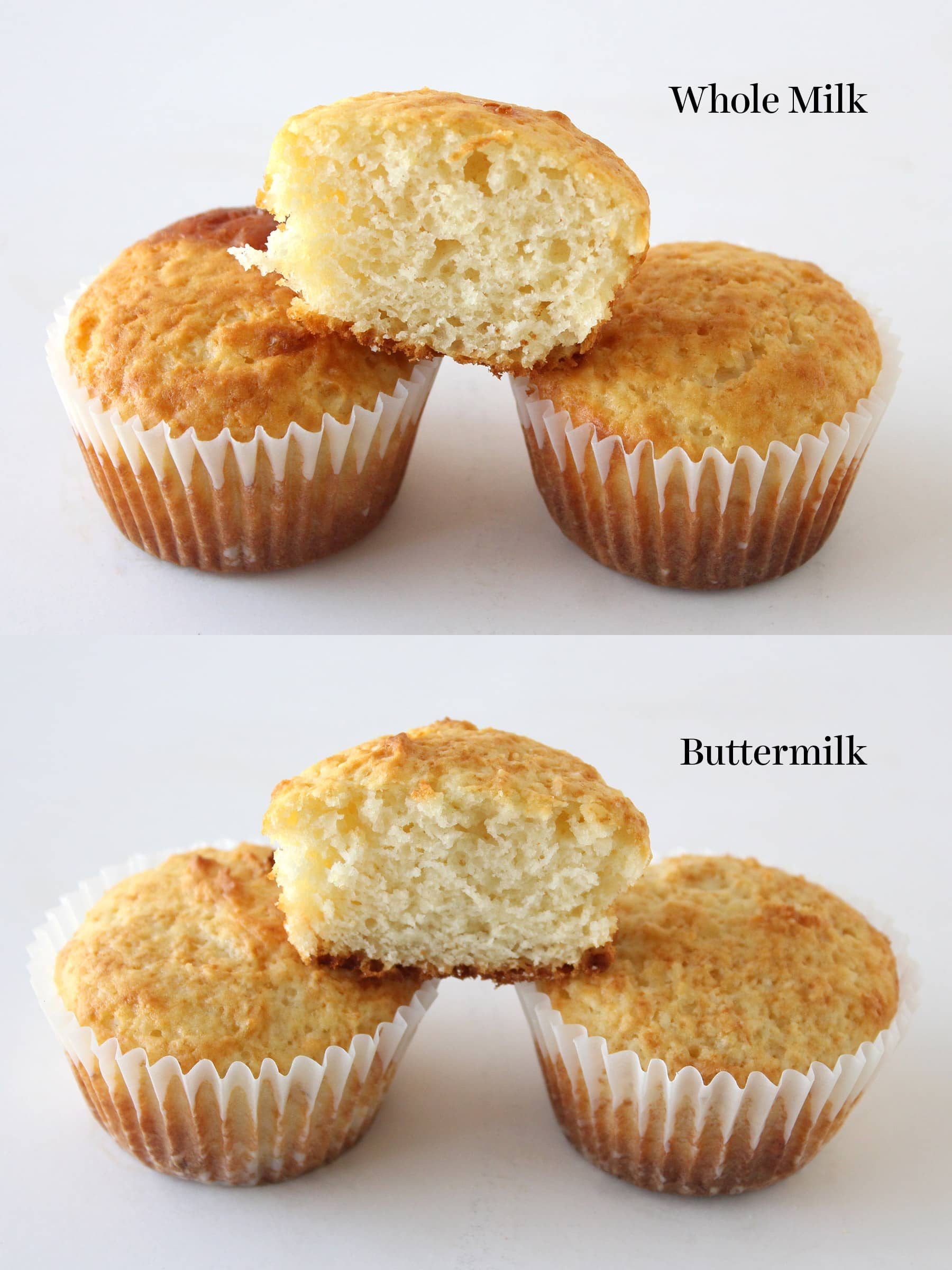 Comparing muffins made with whole milk vs. buttermilk