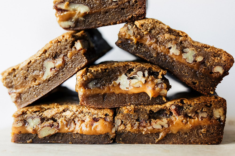 Blondies stuffed with a gooey caramel pecan filing.