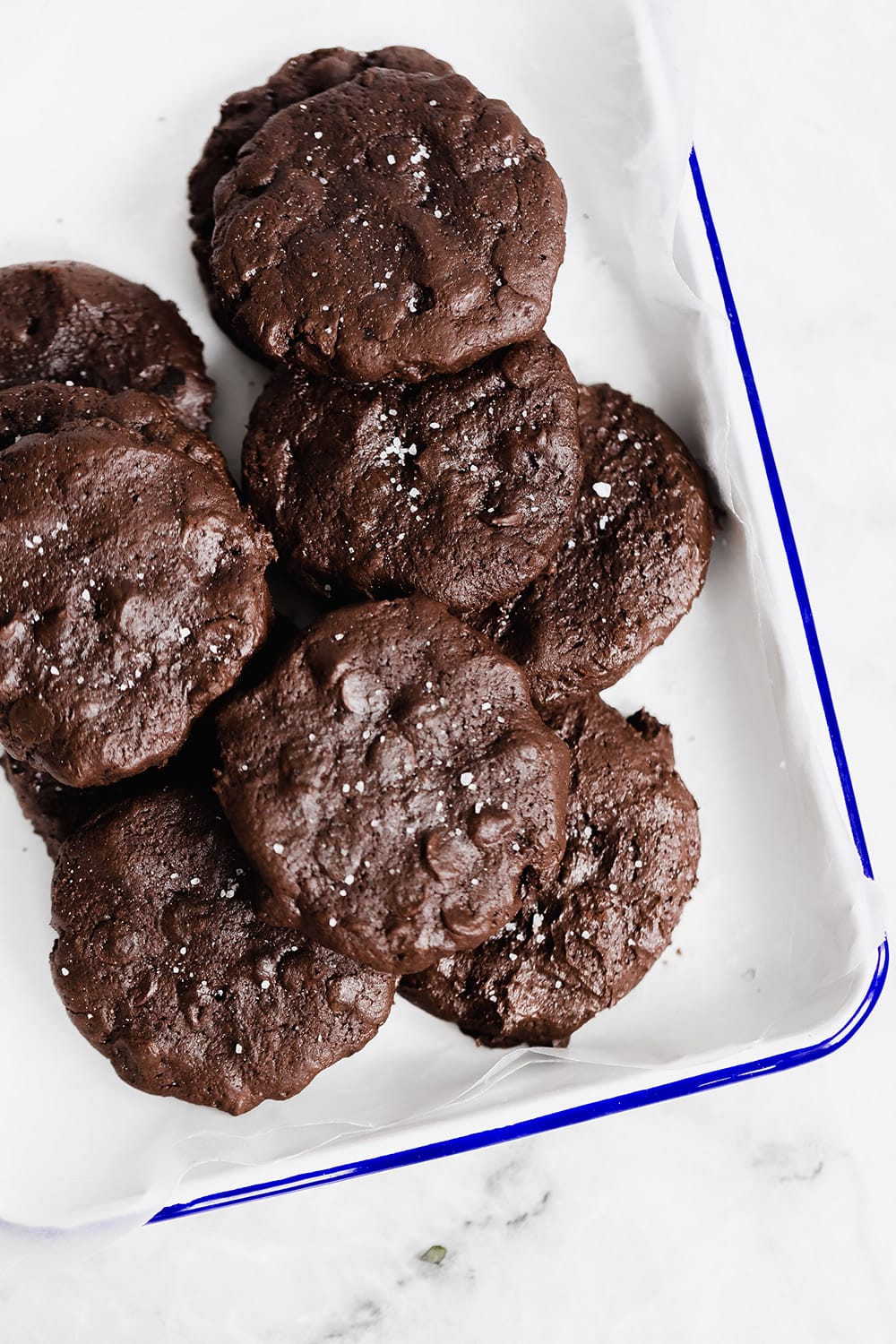 Brownie meets cookie with these ultra rich soft batch double chocolate cookies!