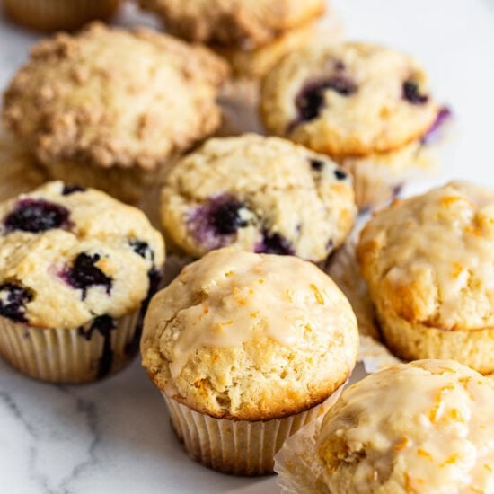 homemade blueberry, lemon and crumb cake muffins