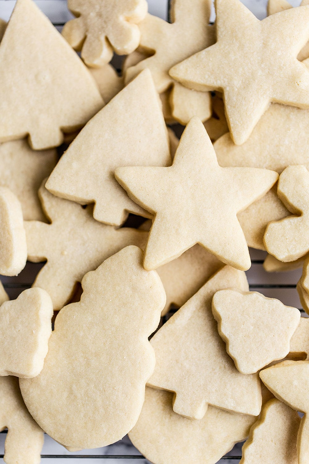 Simple and easy Christmas sugar cookie recipe made without royal icing!