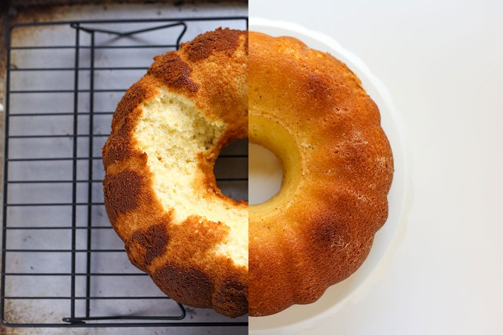 Side by side comparison of bundt cake that stuck to the pan versus bundt cake that released perfectly