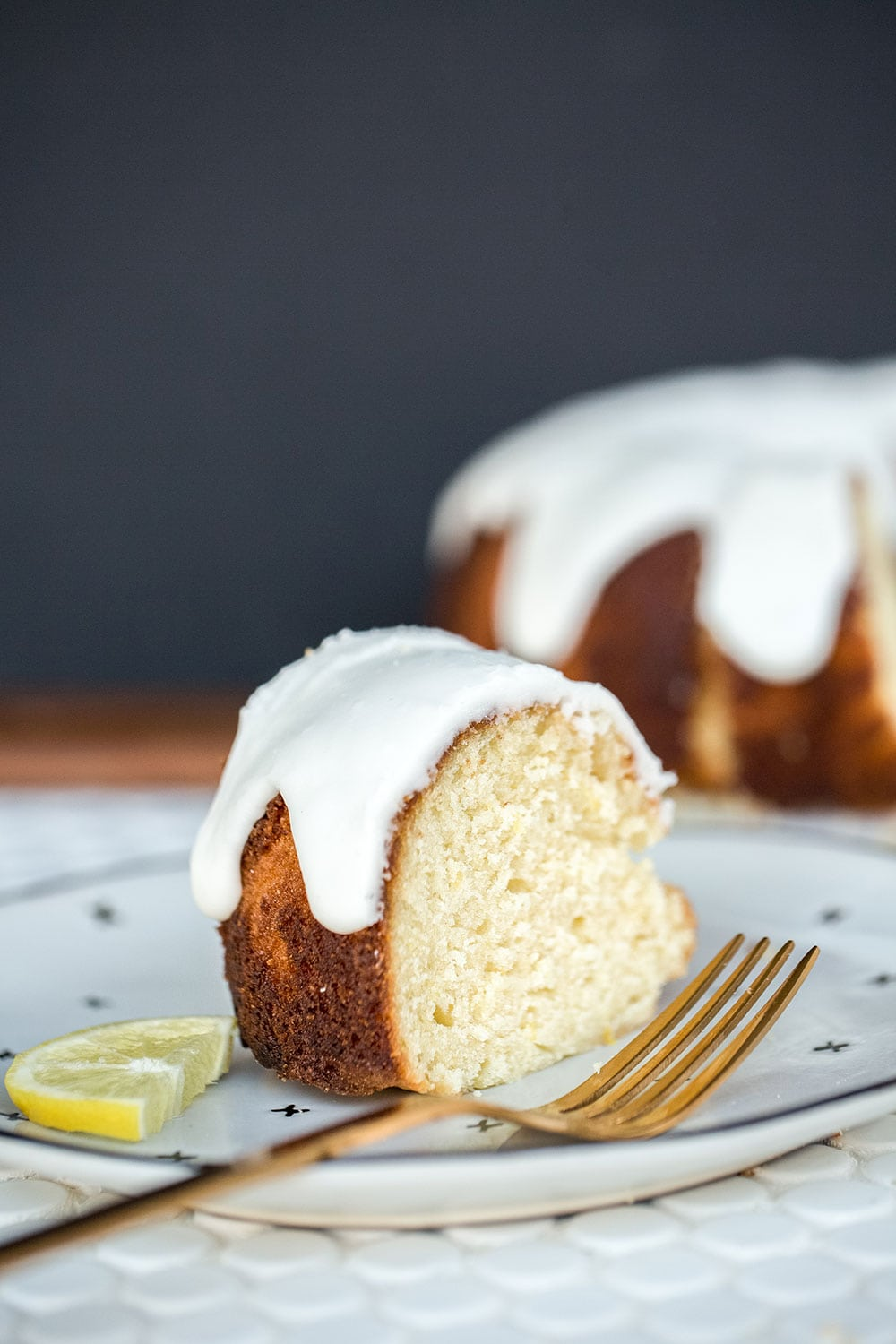 Slice of lemon bundt cake
