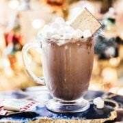 Homemade Peppermint Hot Cocoa Recipe made with peppermint bark!