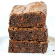 Easy homemade fudgy chewy brownies