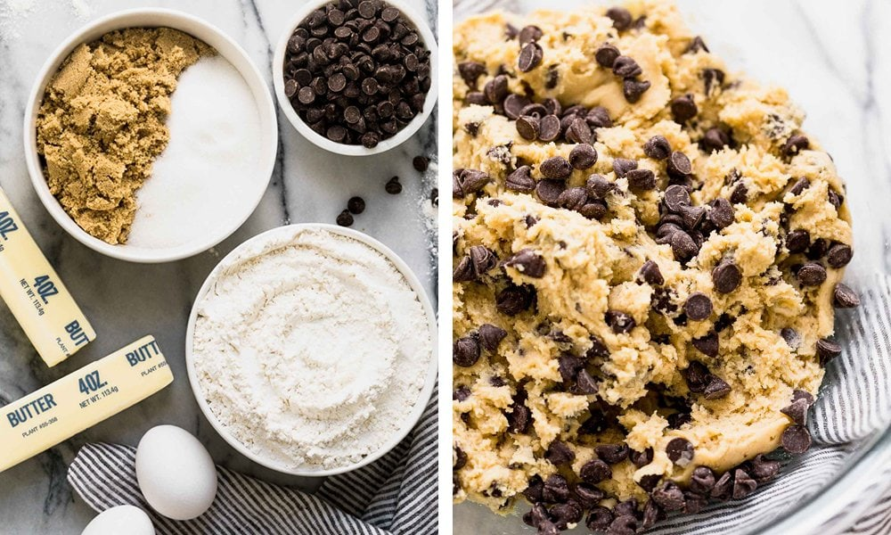 Bakery Style Chocolate Chip Cookies ingredients and cookie dough