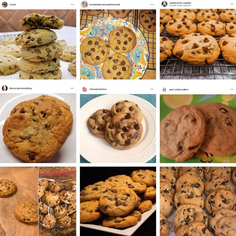 photos of reader's bakery style chocolate chip cookies