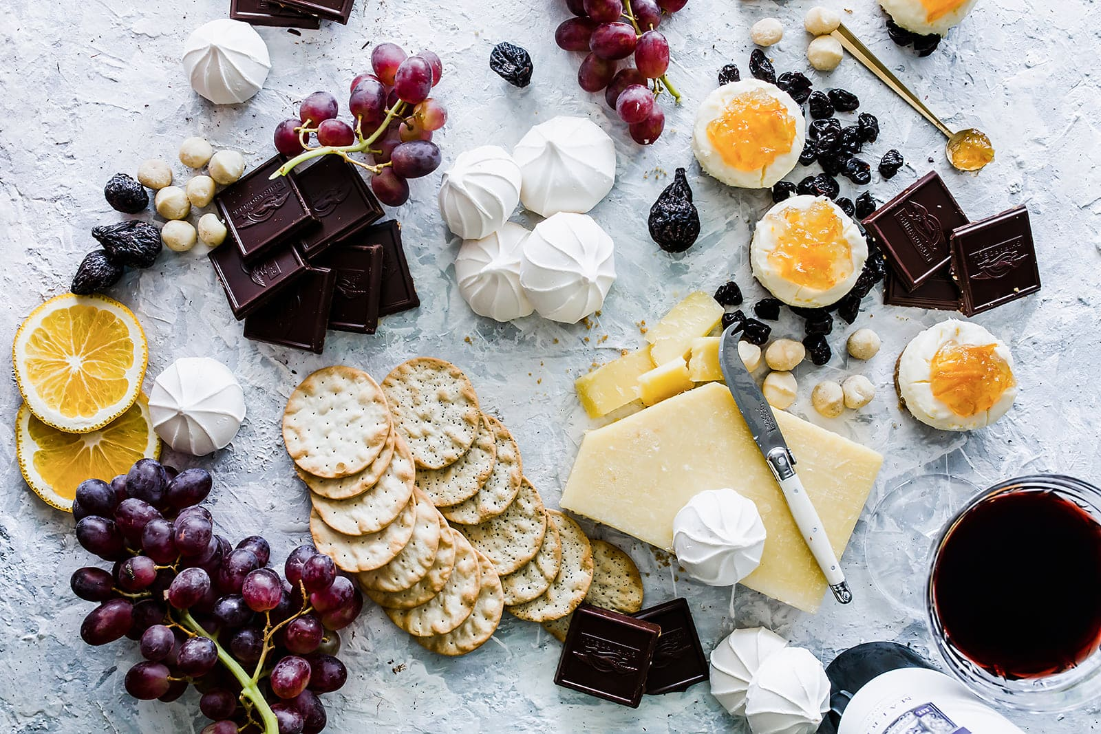 Hosting a girls night in party with lots of chocolate and cheese!