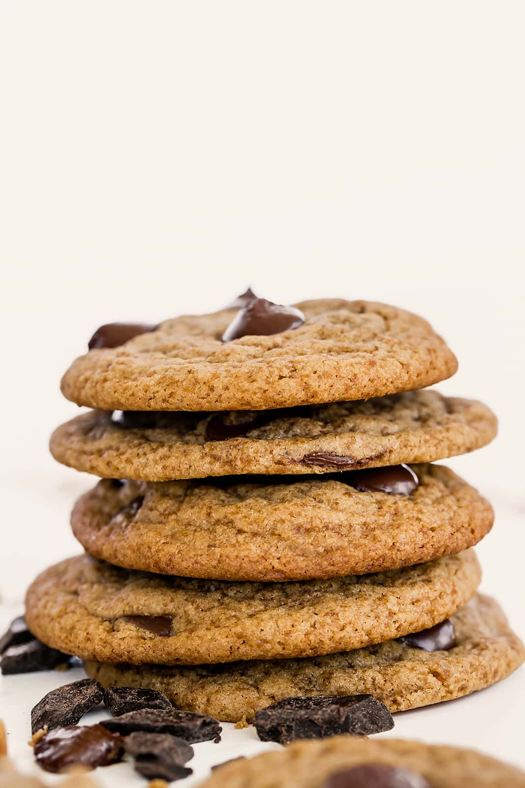 Healthy Chocolate Chip Cookies are dairy free and made with whole wheat flour and coconut sugar but taste just as good! Easy 20 minute recipe.