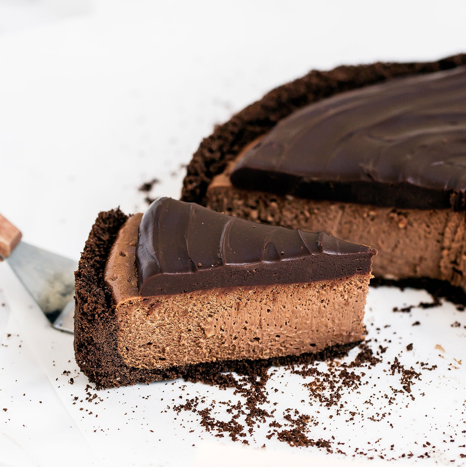 Insanely decadent Death by Chocolate Cheesecake features chocolate in FOUR forms: chocolate cookie crust, double chocolate cheesecake filling, with a chocolate ganache topping. It doesn't get better than this!