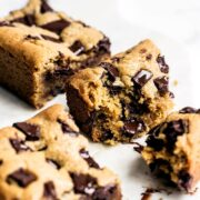 Super thick and chewy peanut butter chocolate chunk cookie bars
