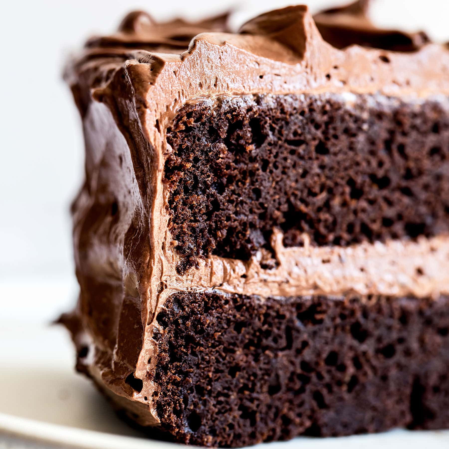 Fudgy slice of the best chocolate cake recipe