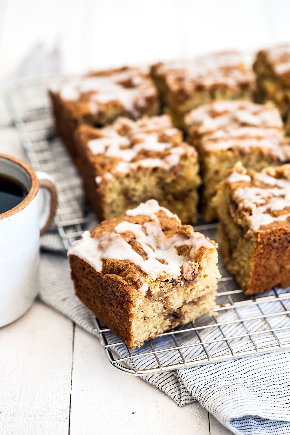Browned butter sour cream coffee cake with cinnamon streusel - the best coffee cake ever!