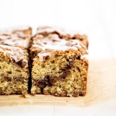 Brown Butter Coffee Cake features an ultra moist and flavorful brown butter sour cream cake with a sweet cinnamon brown sugar streusel throughout. My all time favorite coffee cake recipe!