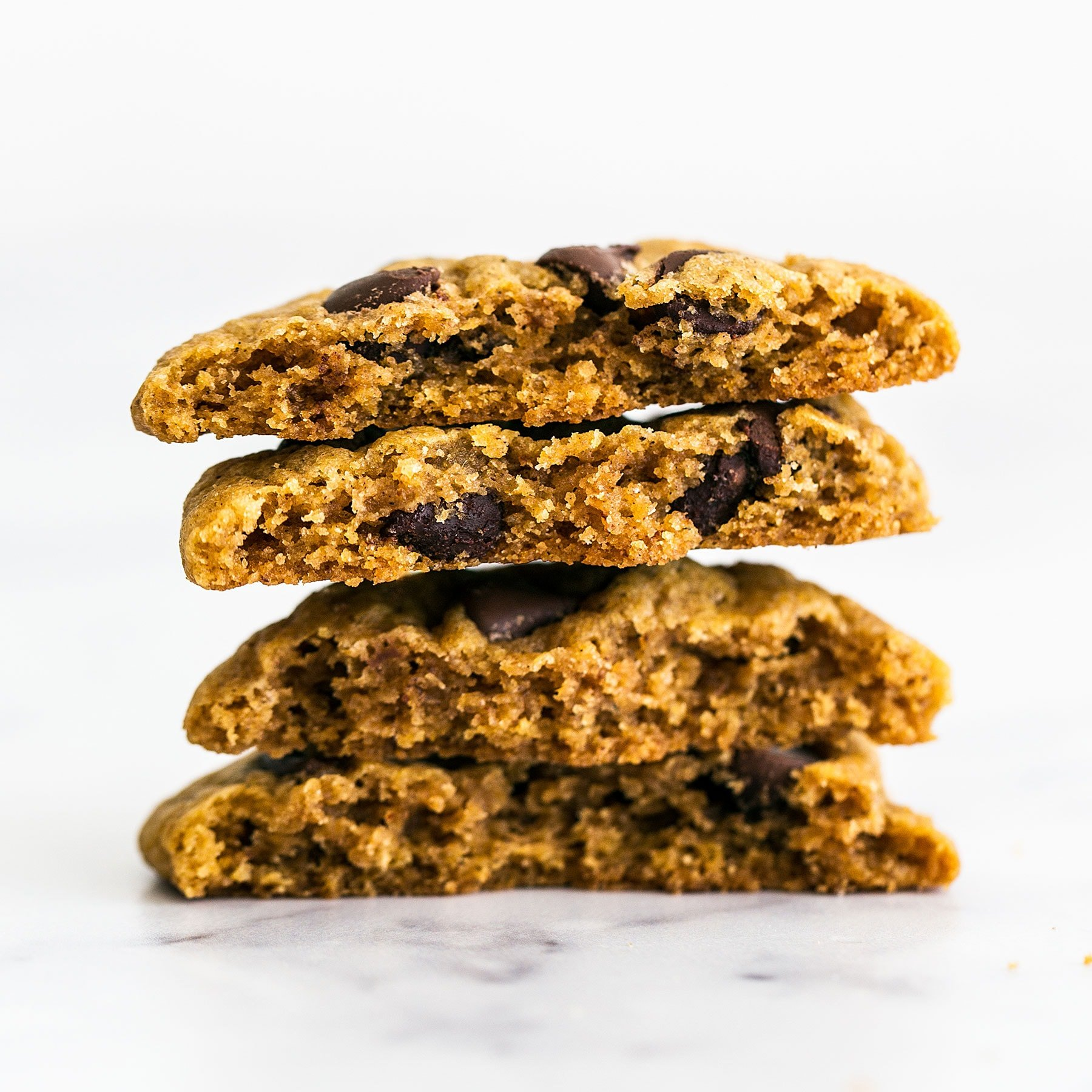 Brown Butter Pumpkin Chocolate Chip Cookies are CHEWY (not cakey) pumpkin spice cookies loaded with tons of caramelized butterscotch flavor and gooey chocolate chips. A fall favorite!