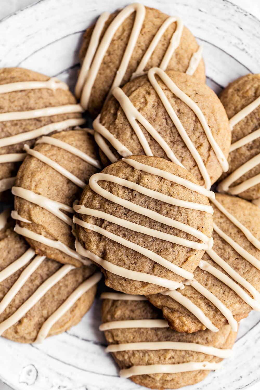 Quick & easy soft batch Chai sugar cookies with espresso coffee glaze