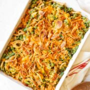 Overhead of cheesy green bean casserole with French's French fried onions on top