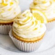 Plate of three lemon cupcakes