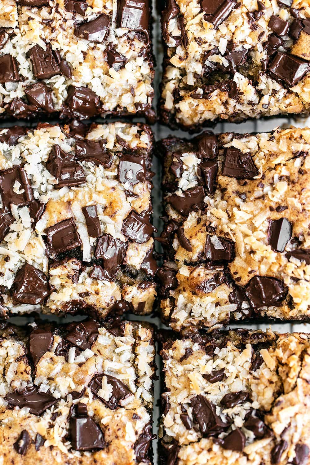 Up close look at the tops of the blondies with chocolate chunks and coconut flakes