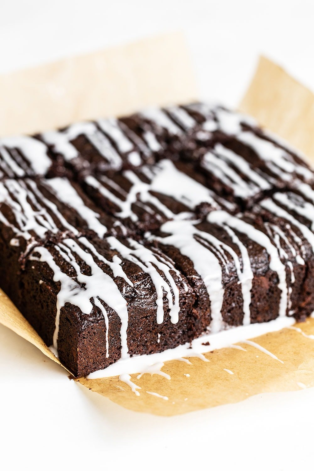 Zucchini Cake with Chocolate and a simple icing on top