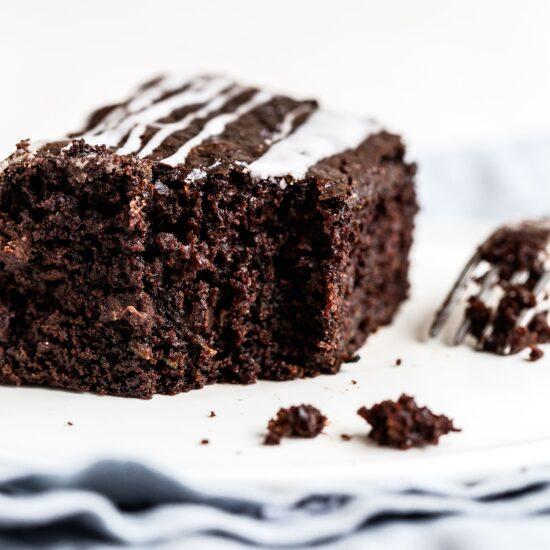 Bite take out of chocolate zucchini snack cake