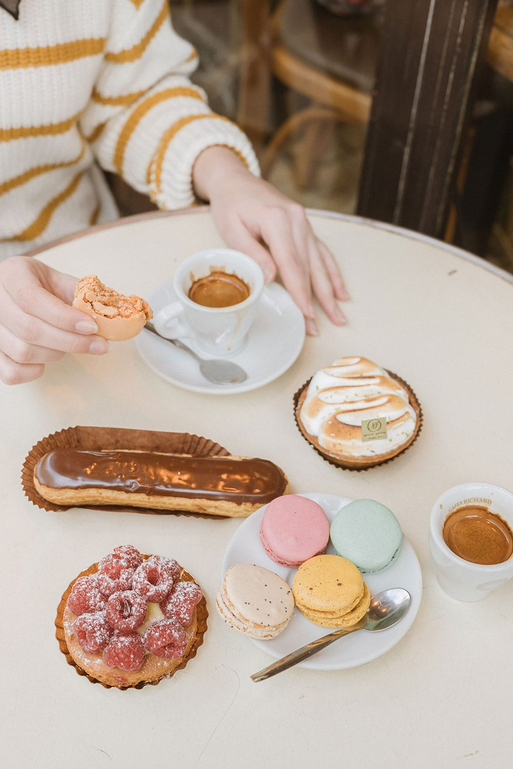 French pastries on a cafe table
