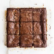 Peanut butter stuffed brownies cut into nine squares