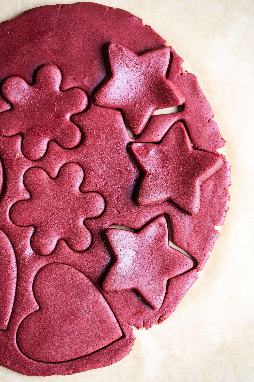 red velvet cookie dough and cookie cutter