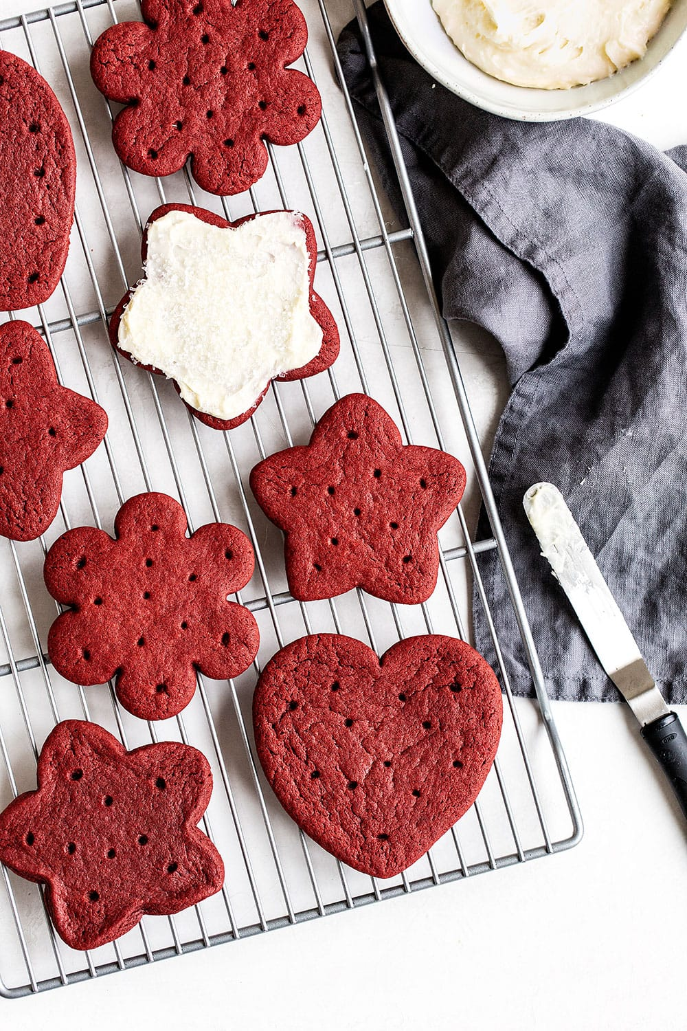 red velvet cookies from scratch on a cooling rack