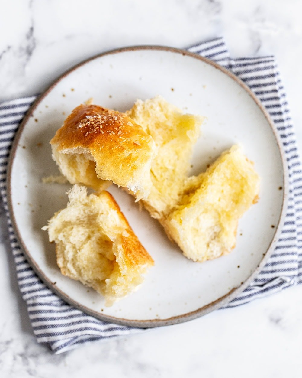 Homemade easy buttery dinner roll on a plate