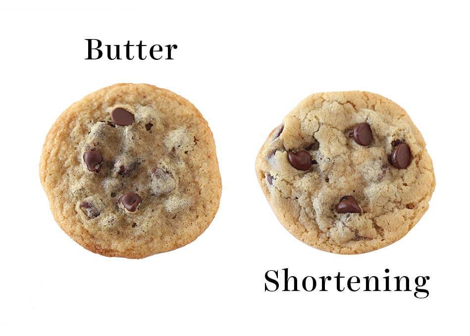 Thinner cookie made with butter vs. thicker cookie made with shortening