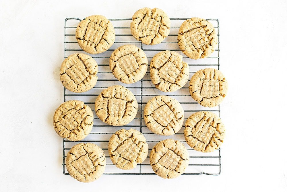 Amazing Peanut butter cookies on a cooling rack