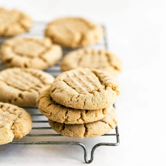 Homemade Peanut butter cookies cooling on a rack