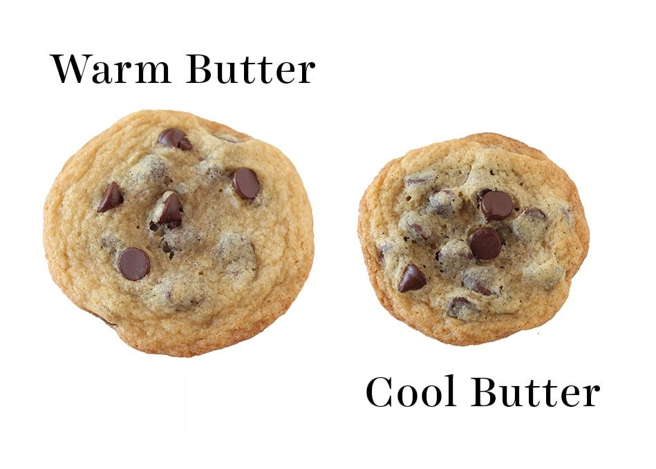 Flat cookie made with warm butter vs. thicker cookie made with cool butter