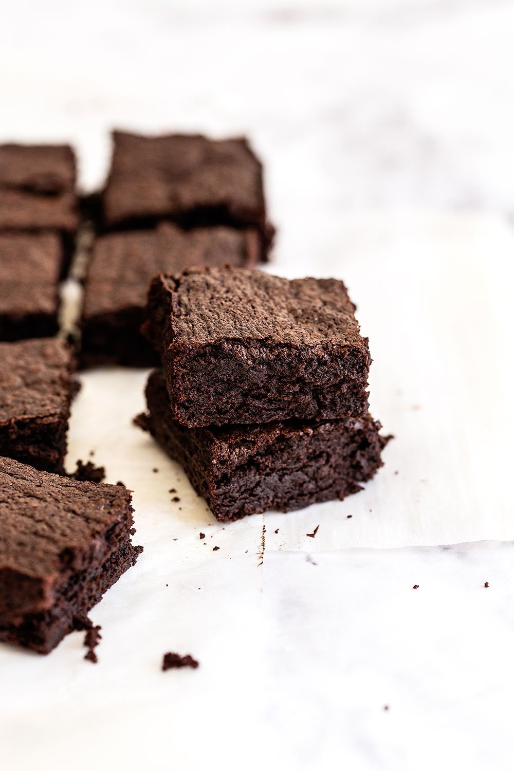 Dark chocolate brownies cut into squares